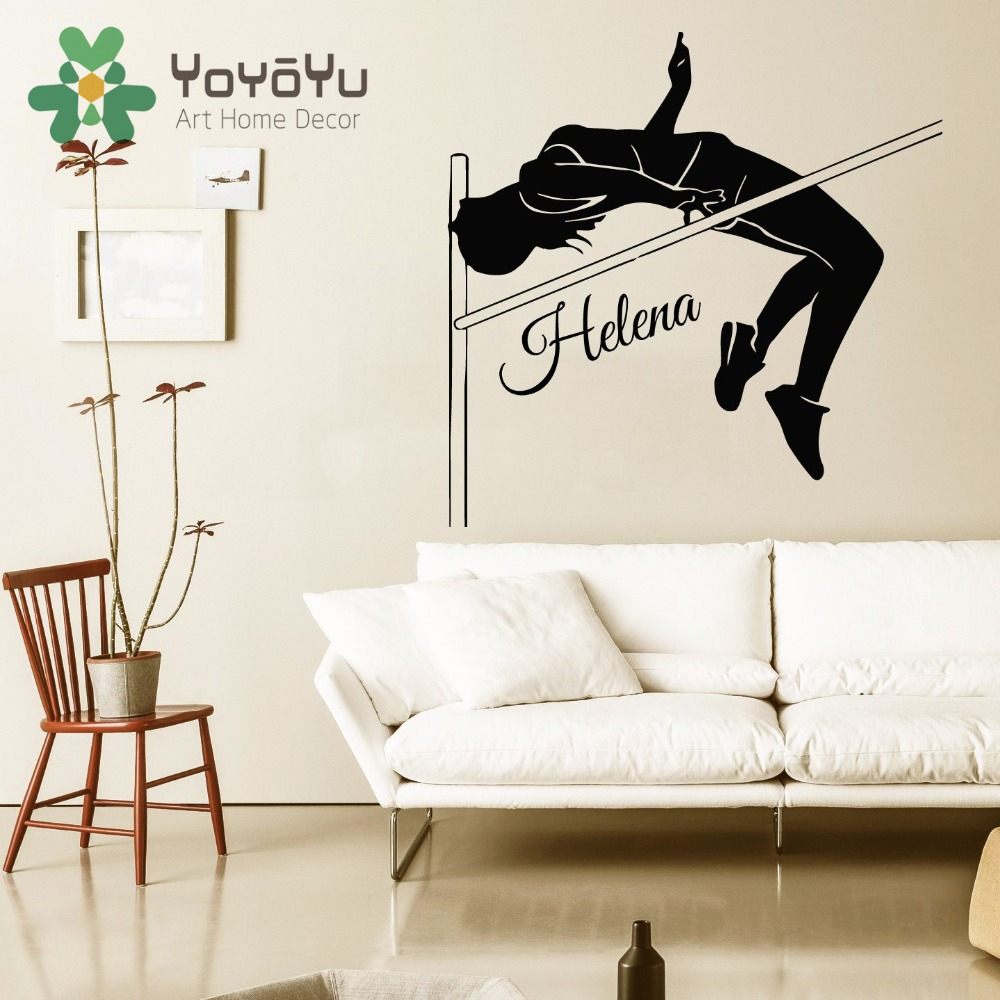 Name Wall Decal Girl Personalized Stickers High Jumper Vinyl Decals Sport Art Mural Home Bedroom