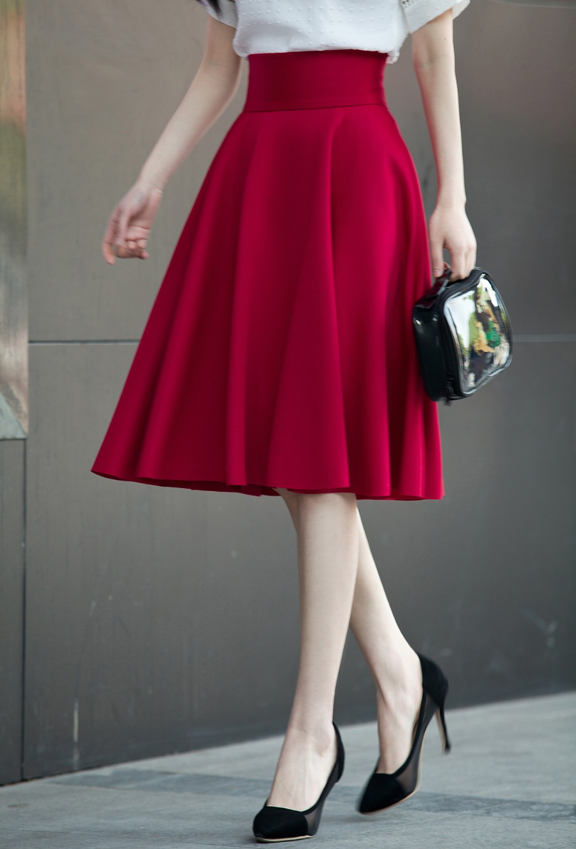 HTB1ZKHsPVXXXXbWXpXXq6xXFXXXL - High Waisted Skirts Womens White Knee Length Bottoms Pleated Skirt  JKP009
