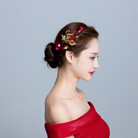 Neue 1 Para Handgemachte Blume Haar Clip Gold Farbe Schmetterling Braut Haarnadeln Hochzeit Haarschmuck Frauen Partei Kopfbedeckung Haarspangen