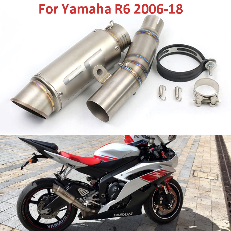 R6 Motorcycle Exhaust System Slip On Mid Link Pipe Middle Pipe Exhaust Baffler For Yamaha YZF R6 2006-2018 yzf r6 motorcycle exhaust modified middle link pipe exhaust escape muffler for yamaha r6 yzf 2006 07 08 09 10 11 12 13 14 15 16