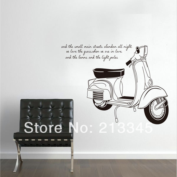 Fundecor Monopoly Motorcycle Wall Stickers Living Room Bedroom