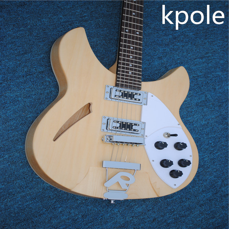 Chinese Electric Guitars Ukelele Natural Kpole Color Rckn Back Style 6 String Semi-hollow Jazz Neck With Mahoga Real Photos,