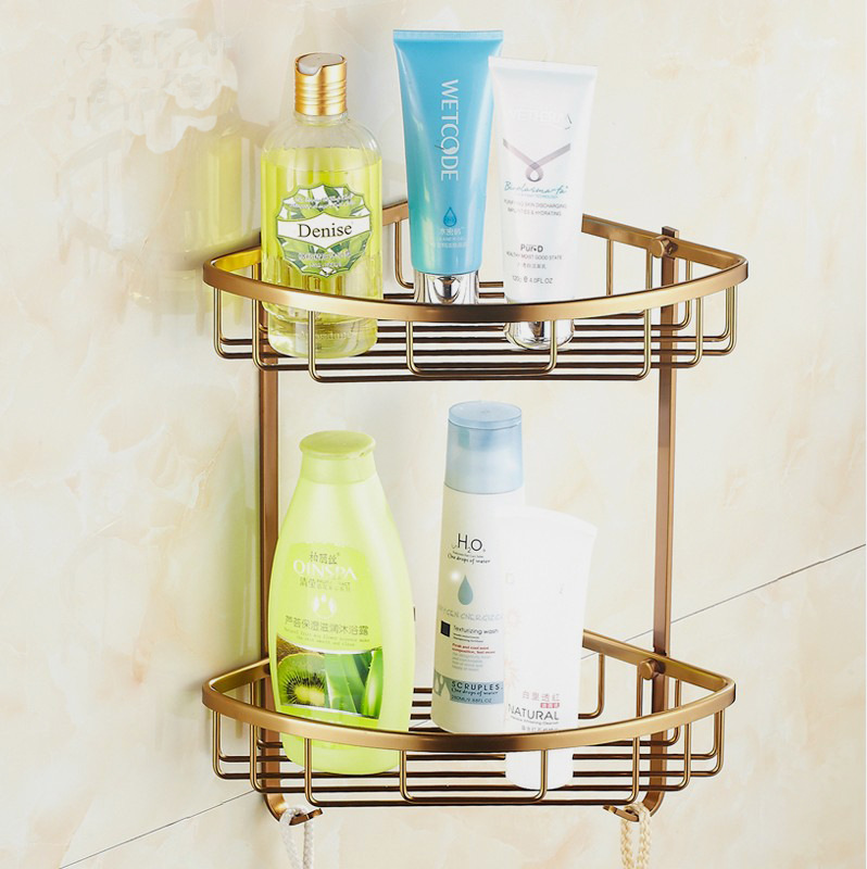 Antique Two Layer Bathroom Shelves Aluminum Wall Towel Washing ...