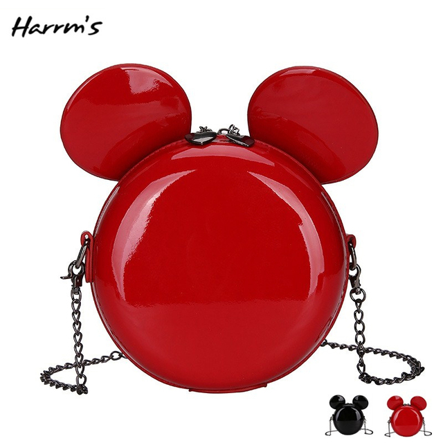 Fashion Cute Cartoon Mouse design Women Bag High Quality Glossy PU Leather Crossbody Shoulder Ears Red Travel Messenger Bag HOT