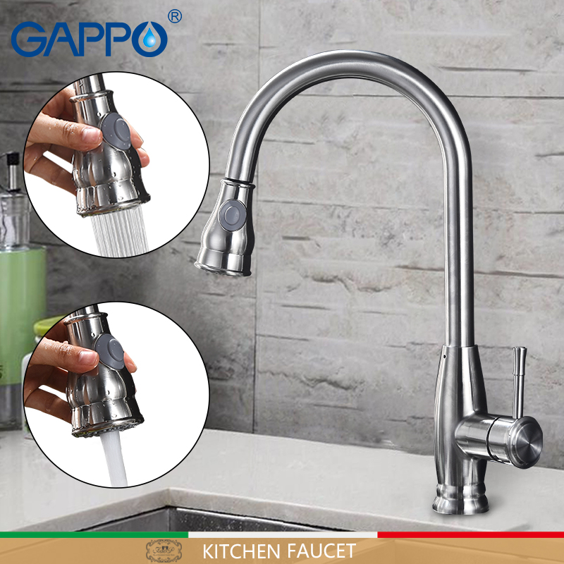GAPPO kitchen faucet stainless steel Rotatable water taps kitchen pull out sink faucets mixer taps flexible