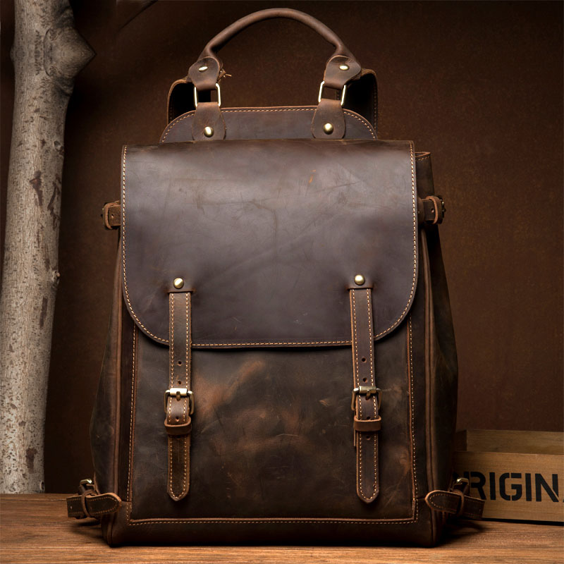 Men Crazy Horse Real Leather Fashion Travel Bag University School Book Bag Cowhide Design Male Backpack Daypack Student Bag Male original leather design university student school book bag male fashion knapsack daypack backpack travel 13 laptop bag men 9999