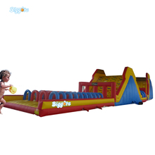 Inflatable Biggors Giant Three Lanes Inflatable Equipment With Slide Inflatable Obstacle Course For Amusement Park