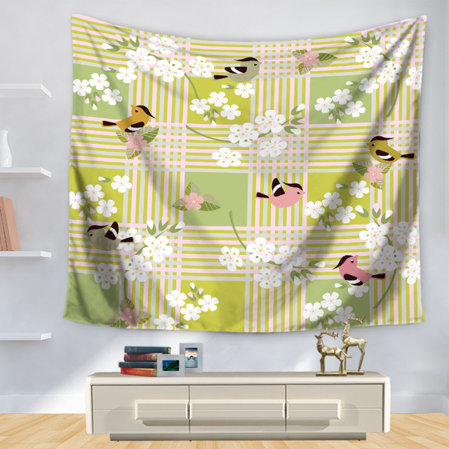 Pastoral Bird Floral Flower Tapestries Wall Hanging Cloth Rectangle ...