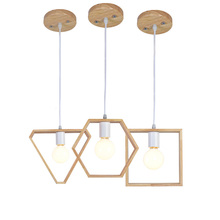 Nordic Wooden Pendant Lights Triangle Square Hexagon Geometry Drop Lighting Oak Wood Lamp Interior Design Home
