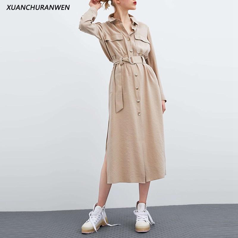 Fashion Slim Belt Trench Coat Spring Turn Down Collar Buttons Pocket Long Windbreaker Outwear Coats XZ2007