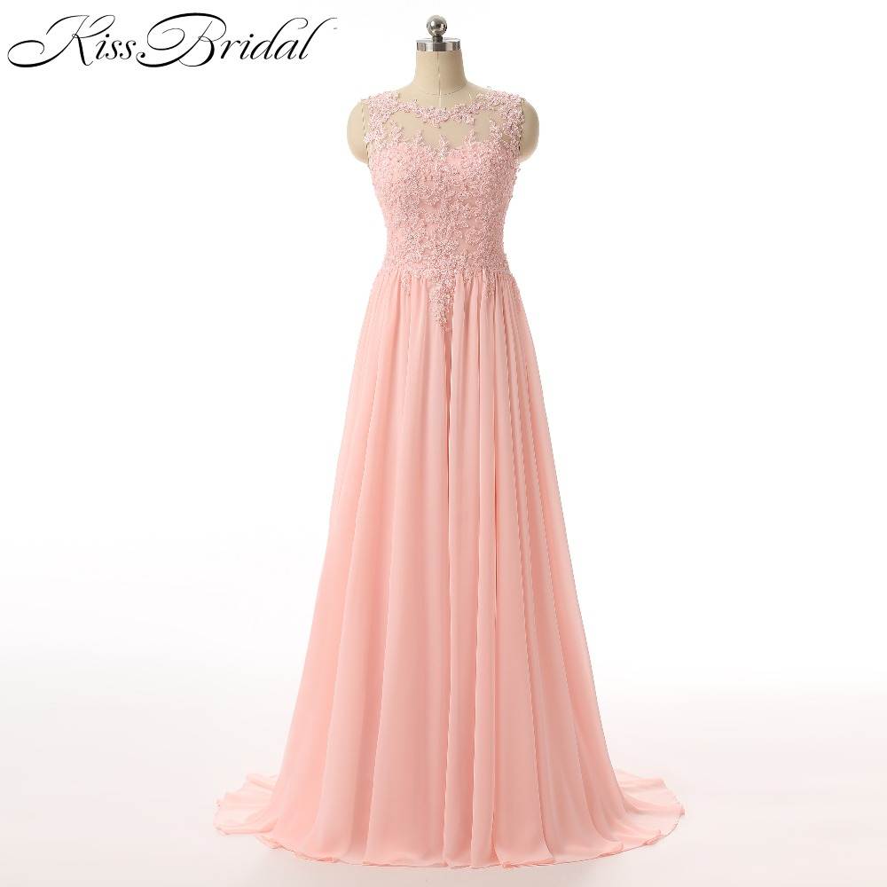 New Elegant Chiffon Long   Prom     Dresses   2017 Scoop Neck A Line Sleeveless Applique Formal Evening Women Party   Dresses