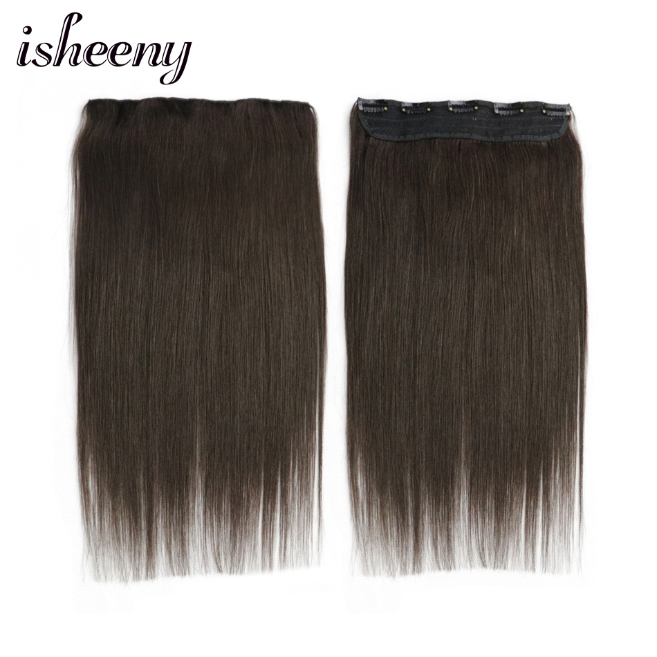 """Isheeny 14"""" 18"""" 22"""" Straight Clip Human Hair Extensions Tic Tac 5 Clips Remy Hair Piece Clip In One Piece Brazilian Hair Clips"""