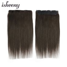 "Isheeny 14"" 18"" 22"" Straight Clip Human Hair Extensions Tic Tac 5 clips Remy Hair piece Clip In One Piece Brazilian Hair Clips(China)"