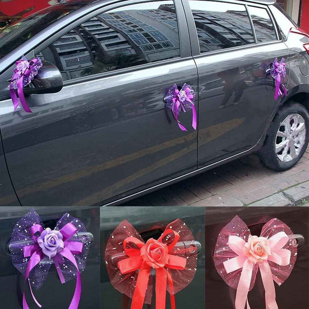 Car Decoration Weding 1 Pcs Wedding Party Car Decoration Door Handles Rose Mesh Lace Silk Ribbon Pink Purple Red Bouquet Supplies