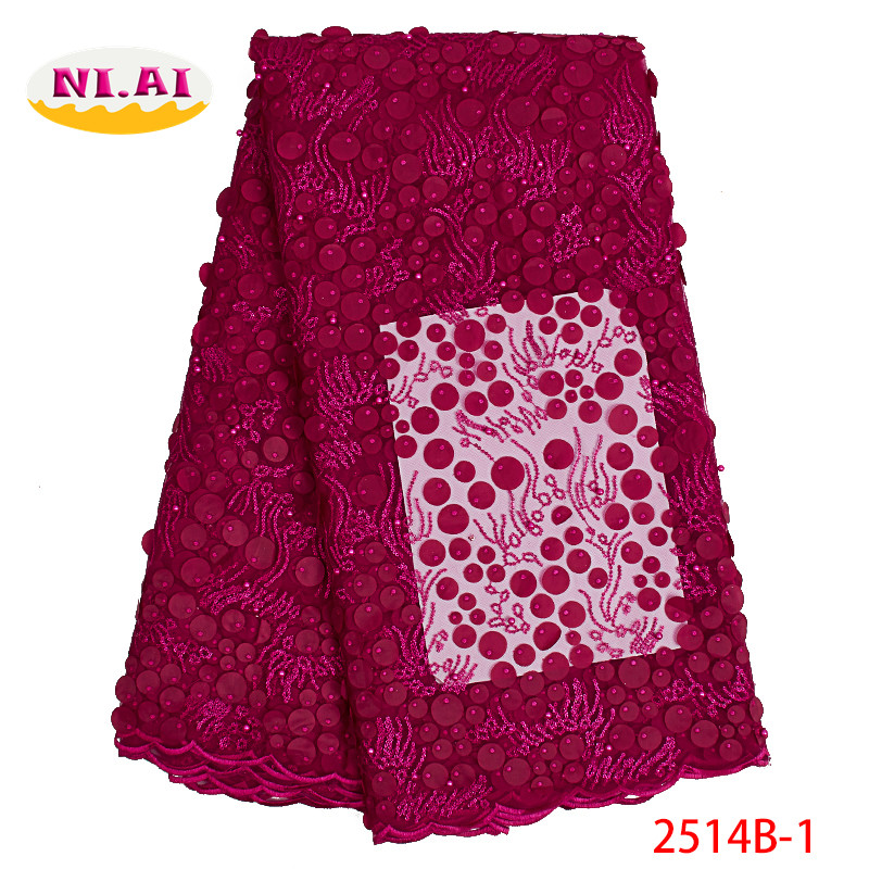 3D Flower Fabric Latest African Laces 2019 Net Lace Fabric Fushia Pink French Lace Fabrics African