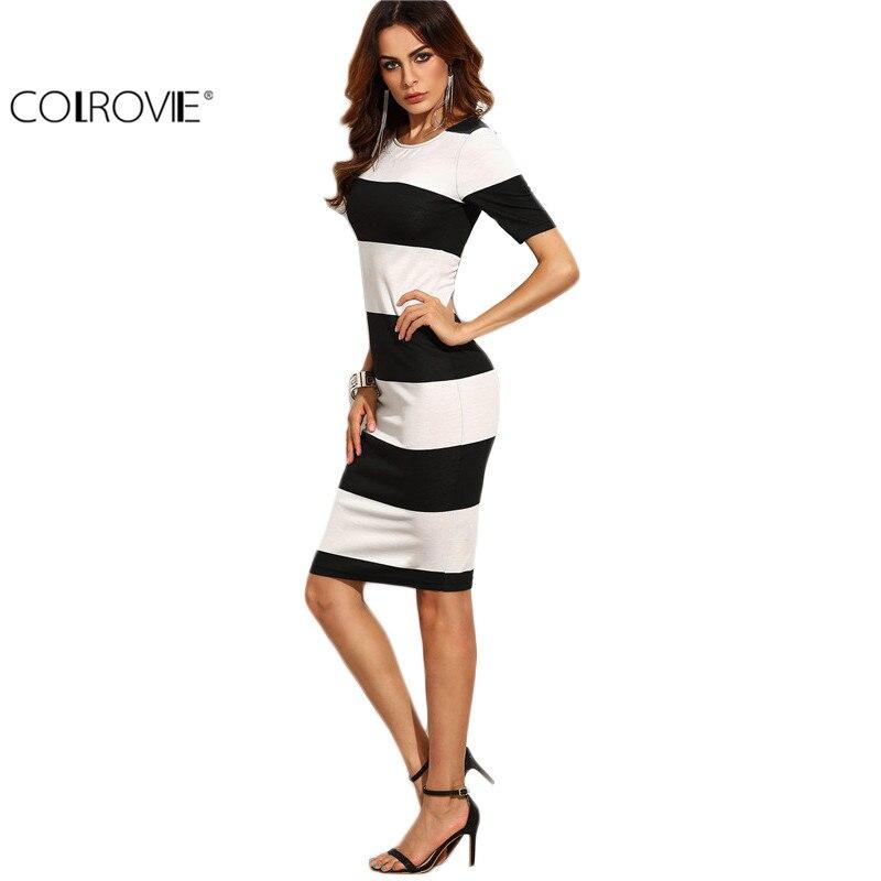 COLROVIE Contraste en Blanco y Negro Raya Ancha Vestido Lápiz Mujeres Otoño Eleg