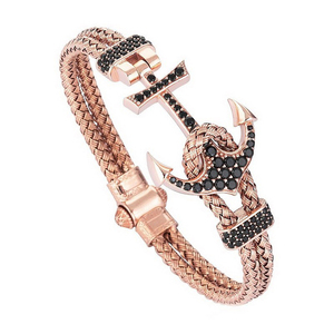 Image 3 - עוגן קאף צמידים & צמידי גברים Atolyestone צמיד זהב נירוסטה עוגן שחור עור קאף צמידי Pulsera BCB 0125