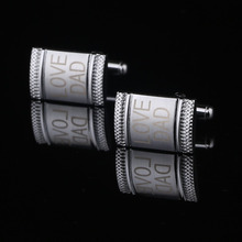 QiQiWu Personalized Silver Shirt Cufflinks Fashion Custom Engrave Cufflink Groom Men's Gift Name Wedding Favors For Men CL-004