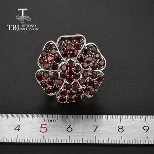 Image 3 - Tbj, büyük lüks taş yüzük doğal kırmızı garnet handsetting taşlar yüzük 925 ayar gümüş ile parti için hediye kutusu