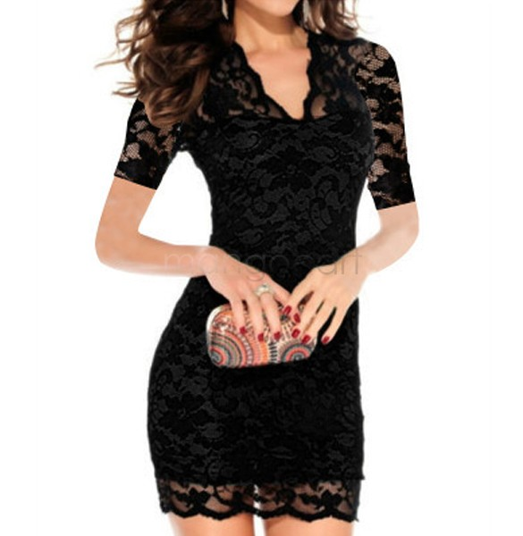 4e5552b8b889 Sexy Dress Women Summer Lace Dress 2017 Pencil Bodycon DVestidos Low cut  Hollow Out Black White Party Dresses Mini Sundress-in Dresses from Women s  Clothing ...