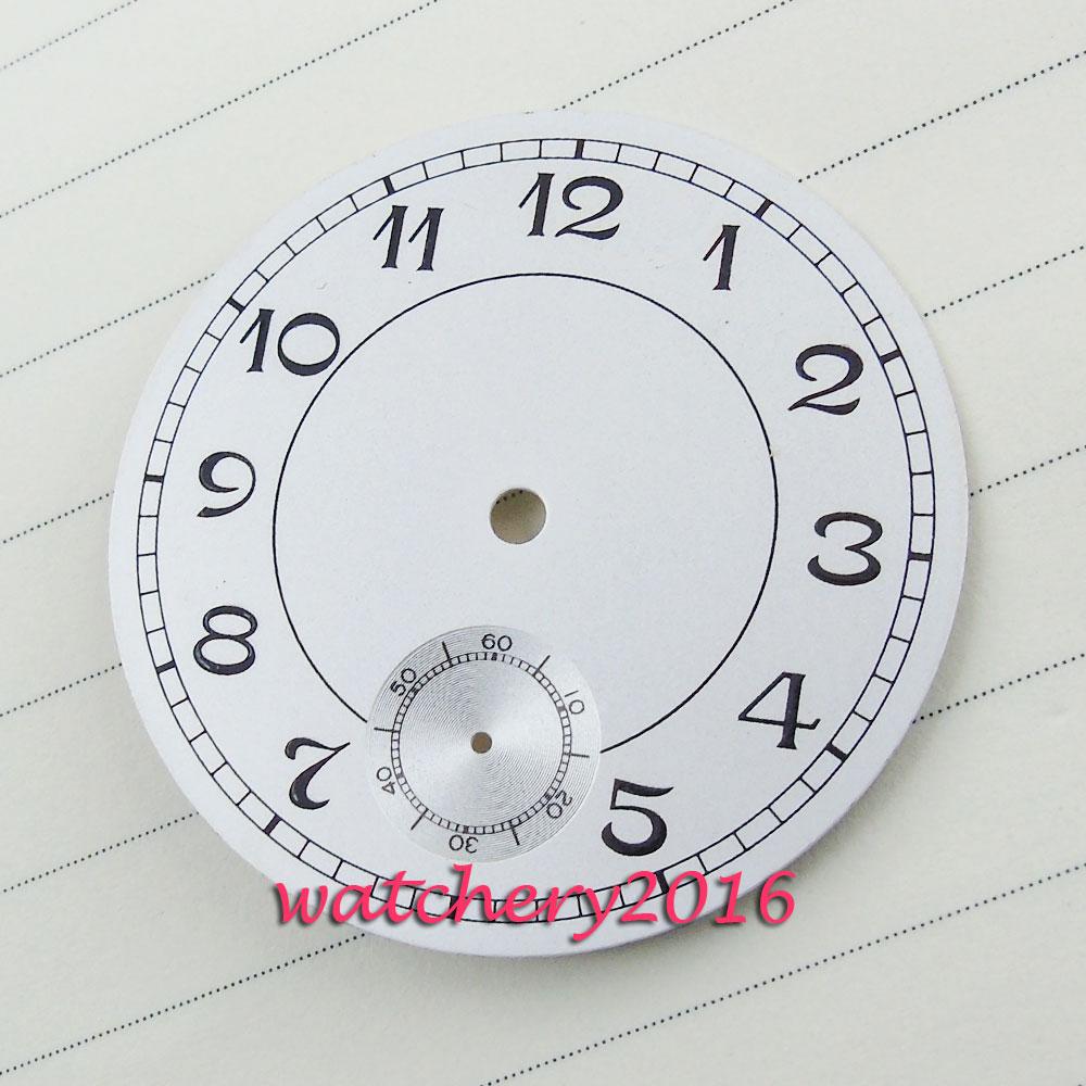 38.9mm Parnis white dial black Luminous Number fit 6498 movement Men's Watch dial