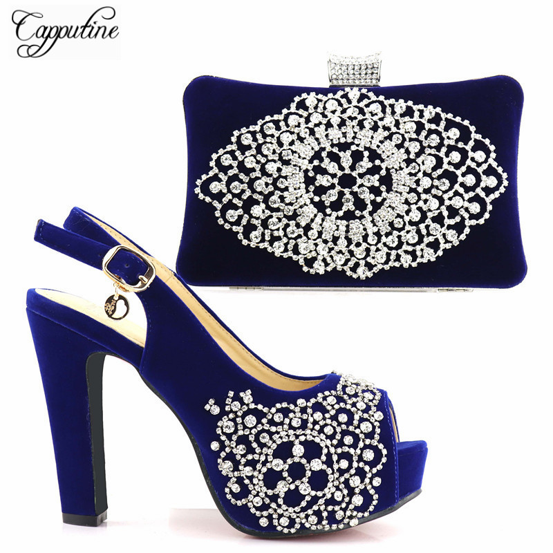 Capputine Dark Blue Color With Silver Cyrstal Italian Shoes With Matching Bag Set Fashion Woman Pumps Shoes And Bag Set Stock vik max adult kids dark blue leather figure skate shoes with aluminium alloy frame and stainless steel ice blade