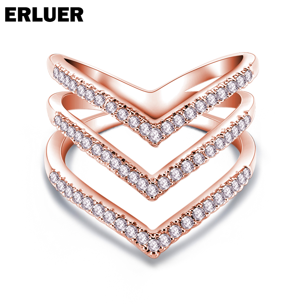 ERLUER Fashion Hot Rings for Women Brand Letter v Shape Ring Zircon Micro Paved Rose Gold Silver color Anel Finger Bague Girl