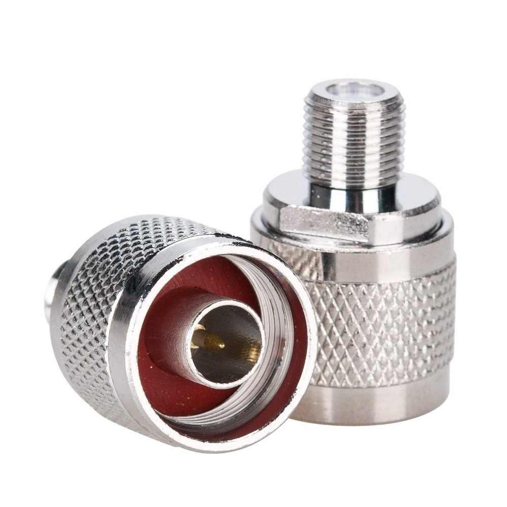 2 pces n macho plug para f fêmea jack rf conector do adaptador coaxial
