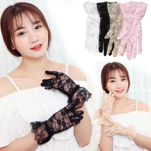 Sun Protection Accessories Lace Hollow-Out Gloves Delicate Jacquard Pattern Soft Wrist Glovers