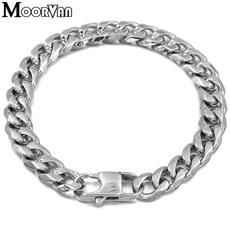 Moorvan Jewelry Men Bracelet Cuban links & chains Stainless Steel Bracelet for Bangle Male Accessory Wholesale B284 28