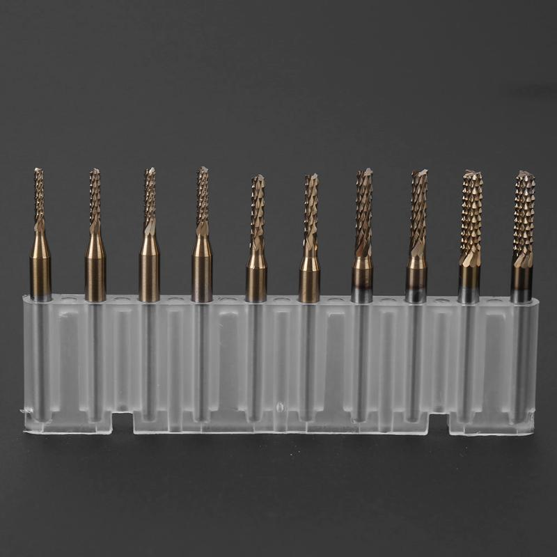 10pcs Carbide1.5-3.175mm Engraving Bits Rotary End Milling Cutter Kit PCB SMT CNC Carbon Fiber Super Hard Material Pratical Tool 10pcs 1 2mm tungsten steel titanium coat carbide end mill engraving bits cnc pcb rotary burrs milling cutter drill bit