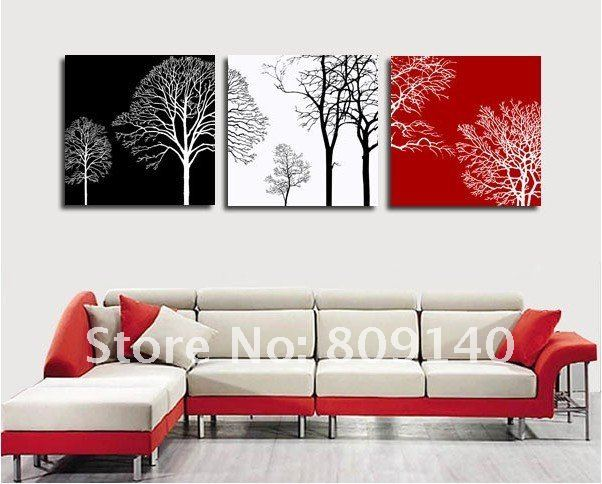 free shipping decoration oil painting canvas abstract tree black ...