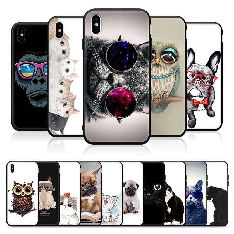 Cool Owl Pattern Phone Case For iPhone 8 7 6S 6 Plus XS Max XR X 10 5 5S SE Cats Chimpanzee Cover For iPhone 6s 8 Soft TPU Capa
