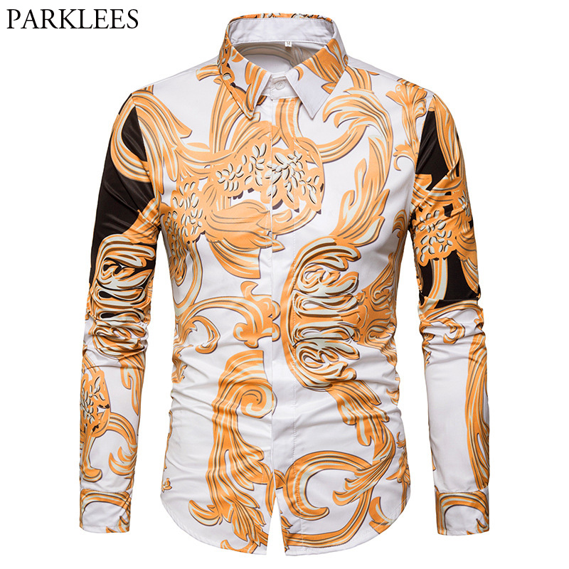 Men Floral Slim Fit Button Down Shirt Long Sleeve Casual Paisley Dress Shirt