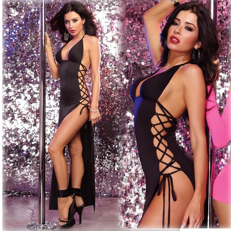 Seksuālā apakšveļa karstā melnā kleita erotiska apakšveļa, kas piekārtiem kakla sāniem, klāta ar tērauda kleitu.