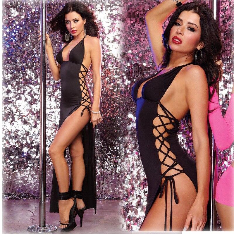 Sexy lingerie hot schwarz kleid erotische unterwäsche hängen hals seite gebändert club stahl dressneck naht split open oberschenkel kostüme