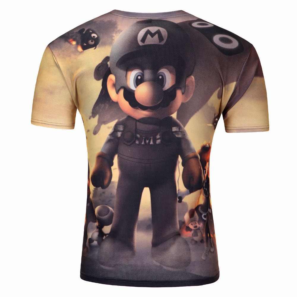 Mario Футболка Мужская модная женская футболка с мультяшным принтом милые 3D мужские Забавные футболки Приключения Косплей крутые футболки с коротким рукавом