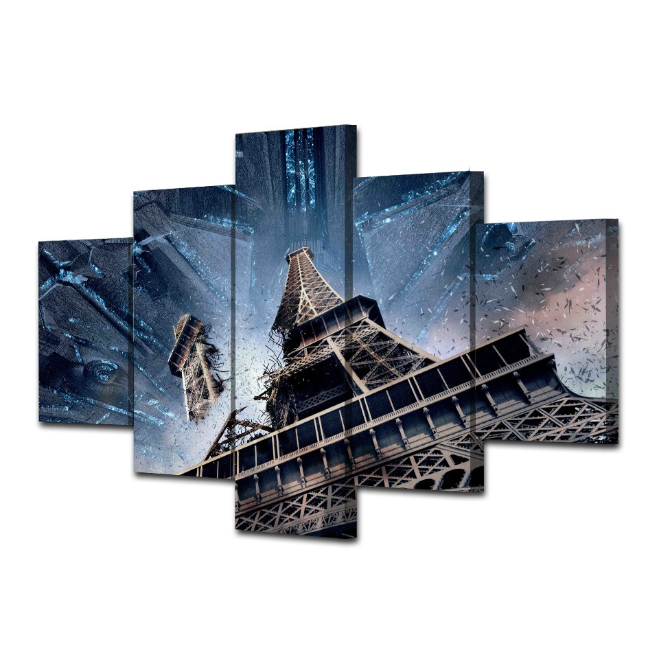 Poster Modular Canvas Pictures HD Printed 5 Pieces Paris Tower ...
