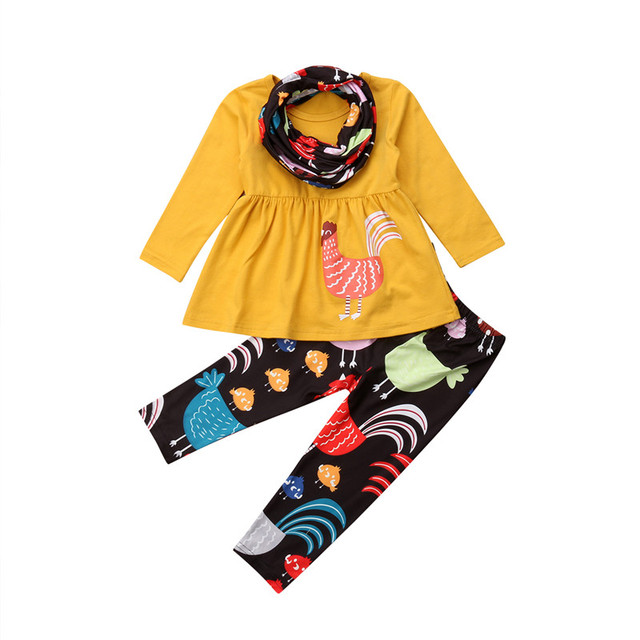 00426755b4ba Thanksgiving Kid Baby Girl Clothes Set Autumn Long Sleeve Cotton Top ...