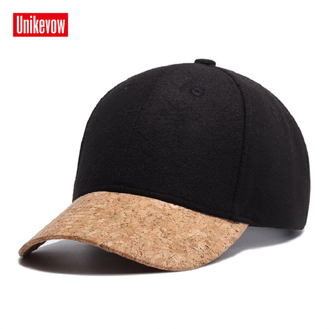 ad0c888886b15 Brand UNIKEVOW High quality Wool Baseball Cap Winter solid Caps Hip Hop hats  for men Unisex Outdoor Snapback Hat Warm cap