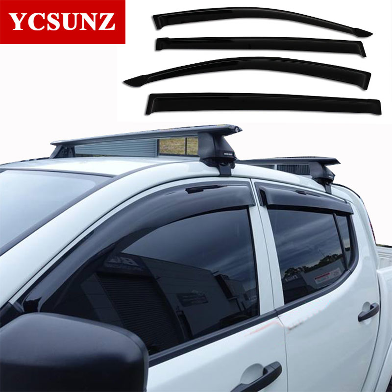 ABS Rain Window Visor Of Accessory For Mitsubishi L200 Triton 2006 2007 2008 2009 2010 2012 2013 2014 Car Wind Deflector Ycsunz car modification lamp fog lamps safety light h11 12v 55w suitable for mitsubishi triton l200 2009 2010 2011 2012 on