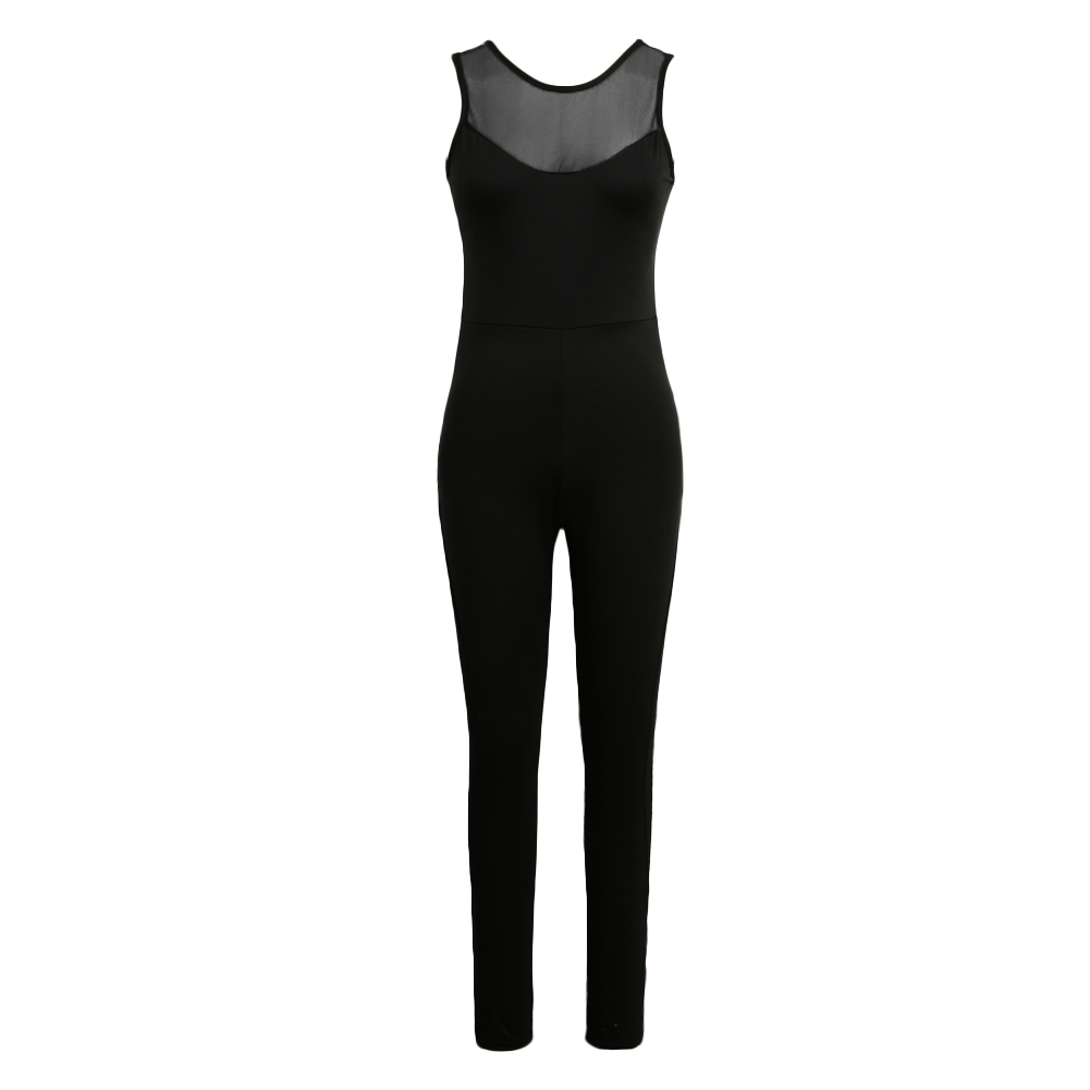 2017 Sexy Summer Rompers Womens Jumpsuit O Neck Sleeveless Mesh Overalls Fitness Workout Bodysuit Leotard Playsuit Black Catsuit 3