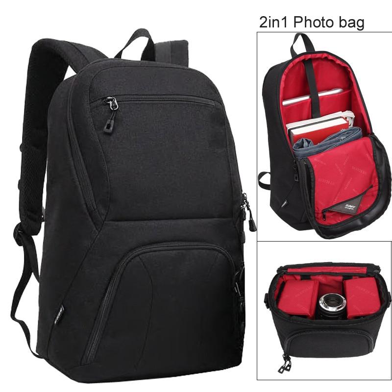 Grande capacité 2 en 1 Photo caméra épaules rembourré voyage étanche sac à dos sac de transport vidéo trépied 15.6