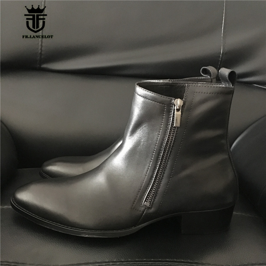 Handmade Exclusive 4 Color Men Side Zip Pointed Toe Genuine Leather Denim Chelsea Boots Wedge Dress Men Shoes men s casual color printing zip fly straight legs denim pants