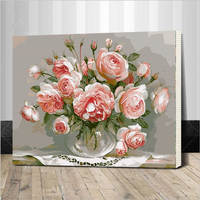 Assembly Frame Hot Selling Flower Wall Painting DIY Painting By Numbers Framed Pictures Handwork Canvas Oil