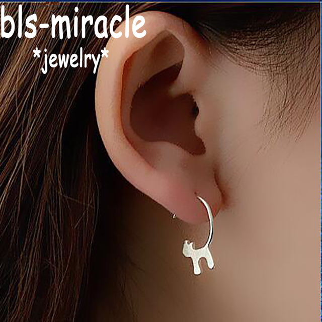 Bls-miracle New !Fashion Jewelry Accessories Silver Lovely Cat Earrings Best Gift For Women Girl Wholesale E076