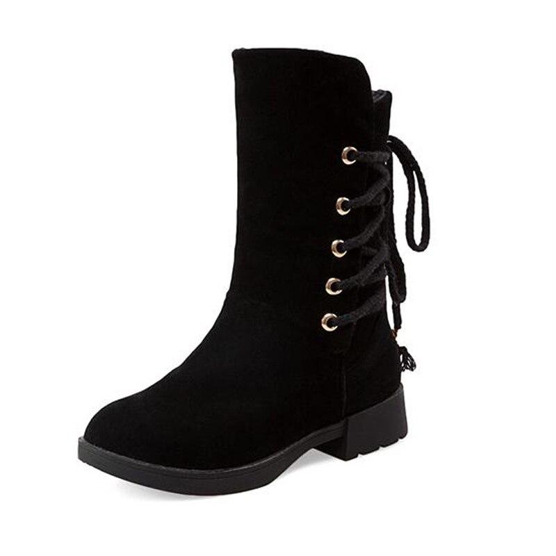 Big Size 33 43 Popular Platform Plush Warm Fall Winter Women Boots Lace Up Snow Boots
