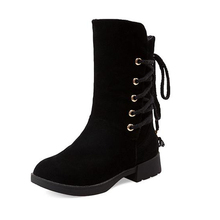 Big Size 33-43 Popular Platform Plush Warm Fall Winter Women Boots Lace Up Snow Boots Solid Thick Heels Female Footwear