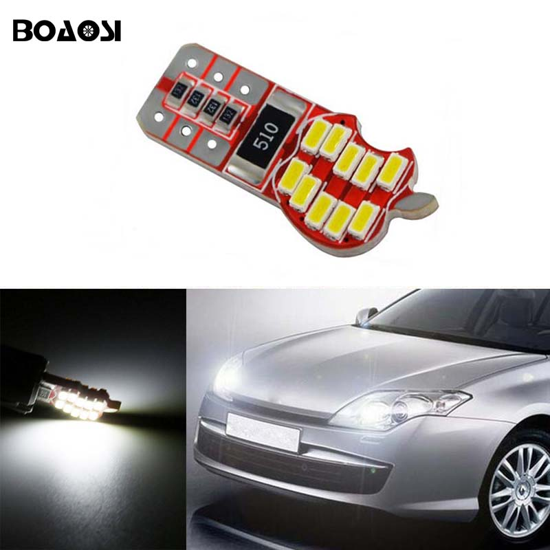 BOAOSI 1x led W5W T10 4014SMD canbus Car Light with Projector Lens for renault megane 2 duster logan clio laguna 2 Koleos 2 x t10 led w5w canbus car side parking light bulbs with projector lens for mercedes benz c250 c300 e350 e550 ml550 r320 r350