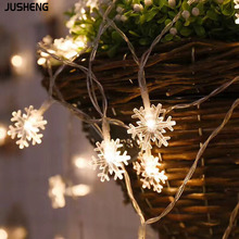 JUSHENG 6M Christmas LED String Lights Snowflake Flashing Starry Battery Decorative Festival Hanging